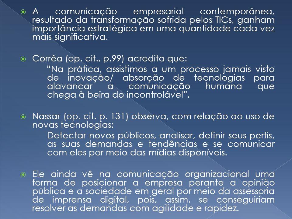 A comunicação empresarial contemporânea, resultado da transformação sofrida pelos TICs, ganham importância estratégica em uma quantidade cada vez mais