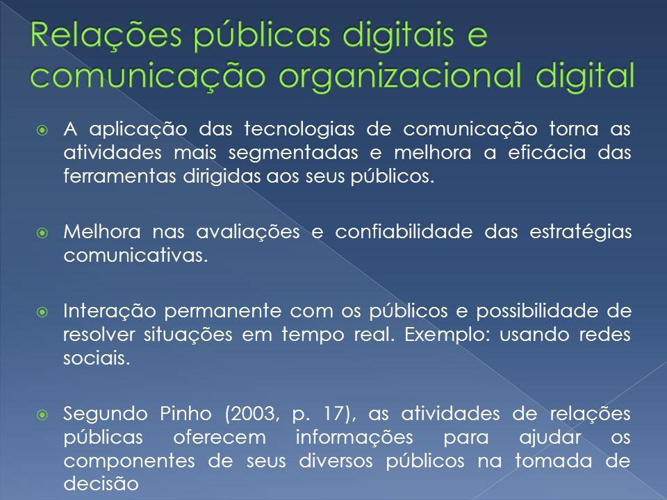 A aplicação das tecnologias de comunicação torna as atividades mais segmentadas e melhora a eficácia das ferramentas dirigidas aos seus públicos. Melh
