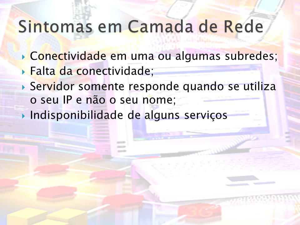 Conectividade em uma ou algumas subredes; Falta da conectividade; Servidor somente responde quando se utiliza o seu IP e não o seu nome; Indisponibili