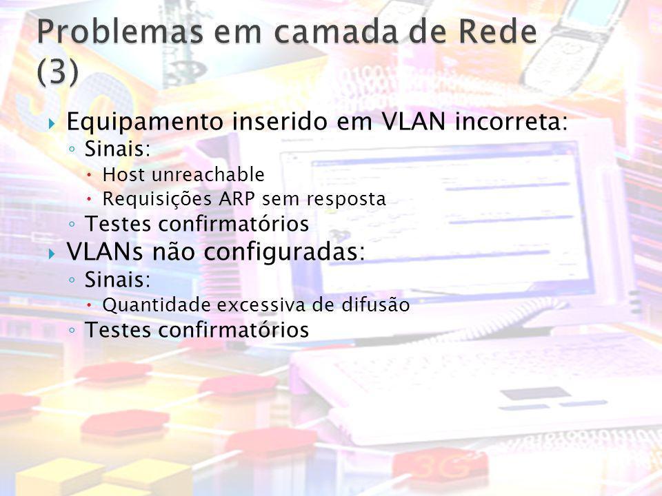 Equipamento inserido em VLAN incorreta: Sinais: Host unreachable Requisições ARP sem resposta Testes confirmatórios VLANs não configuradas: Sinais: Qu