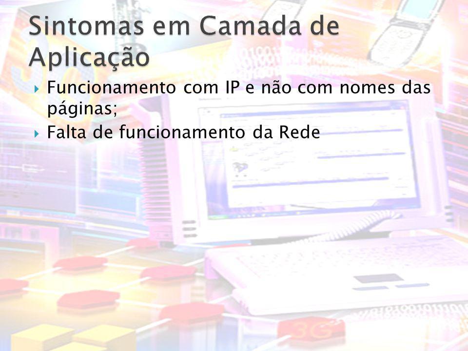 Funcionamento com IP e não com nomes das páginas; Falta de funcionamento da Rede