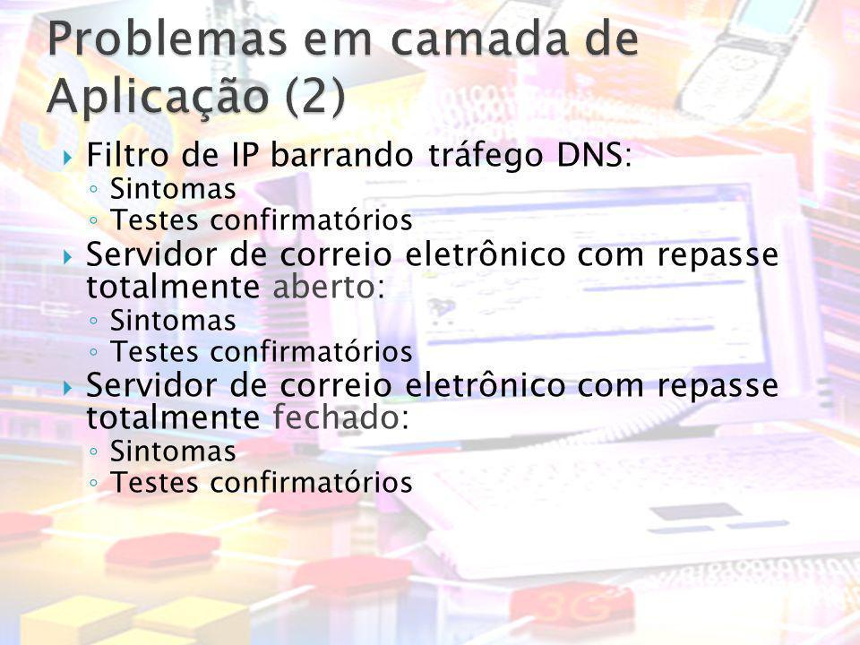 Filtro de IP barrando tráfego DNS: Sintomas Testes confirmatórios Servidor de correio eletrônico com repasse totalmente aberto: Sintomas Testes confir
