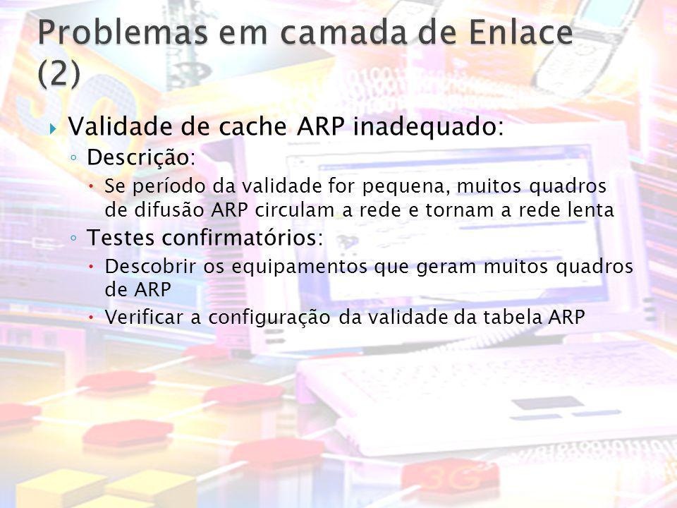 Validade de cache ARP inadequado: Descrição: Se período da validade for pequena, muitos quadros de difusão ARP circulam a rede e tornam a rede lenta T