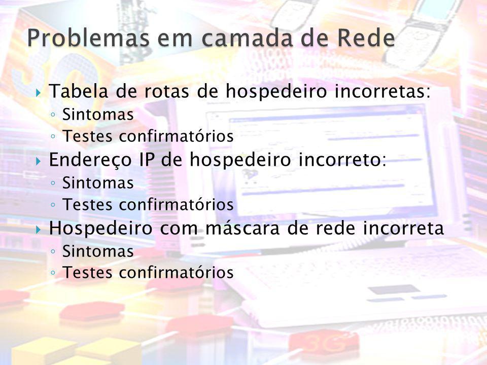 Tabela de rotas de hospedeiro incorretas: Sintomas Testes confirmatórios Endereço IP de hospedeiro incorreto: Sintomas Testes confirmatórios Hospedeir