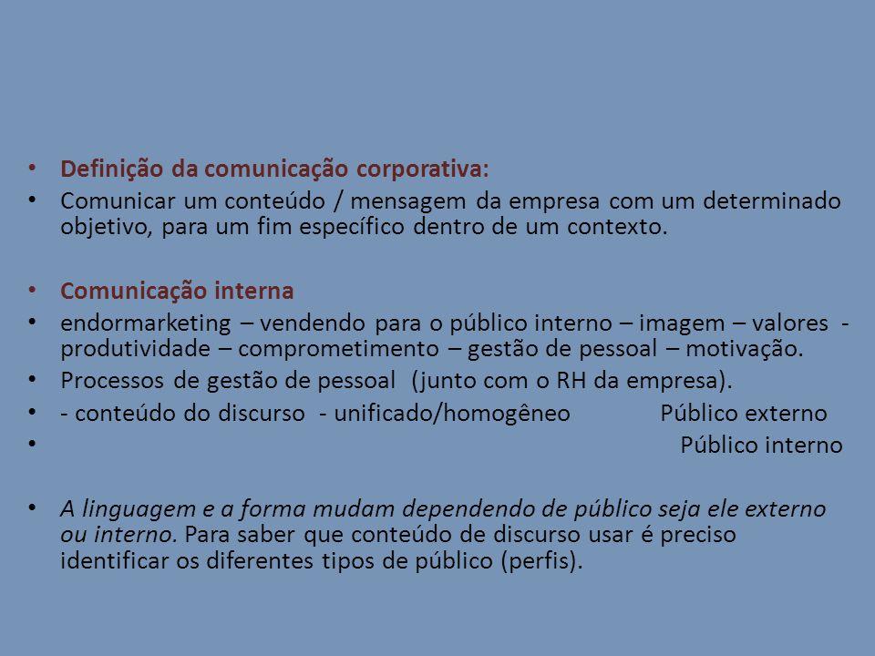 Definição da comunicação corporativa: Comunicar um conteúdo / mensagem da empresa com um determinado objetivo, para um fim específico dentro de um con