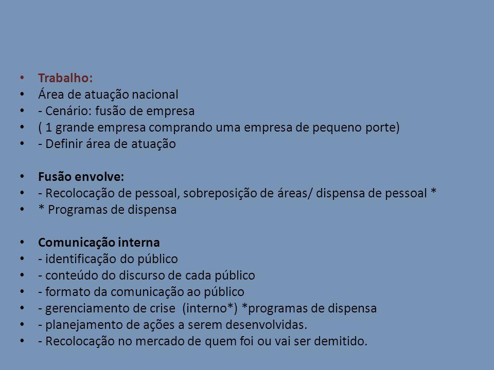 Trabalho: Área de atuação nacional - Cenário: fusão de empresa ( 1 grande empresa comprando uma empresa de pequeno porte) - Definir área de atuação Fu