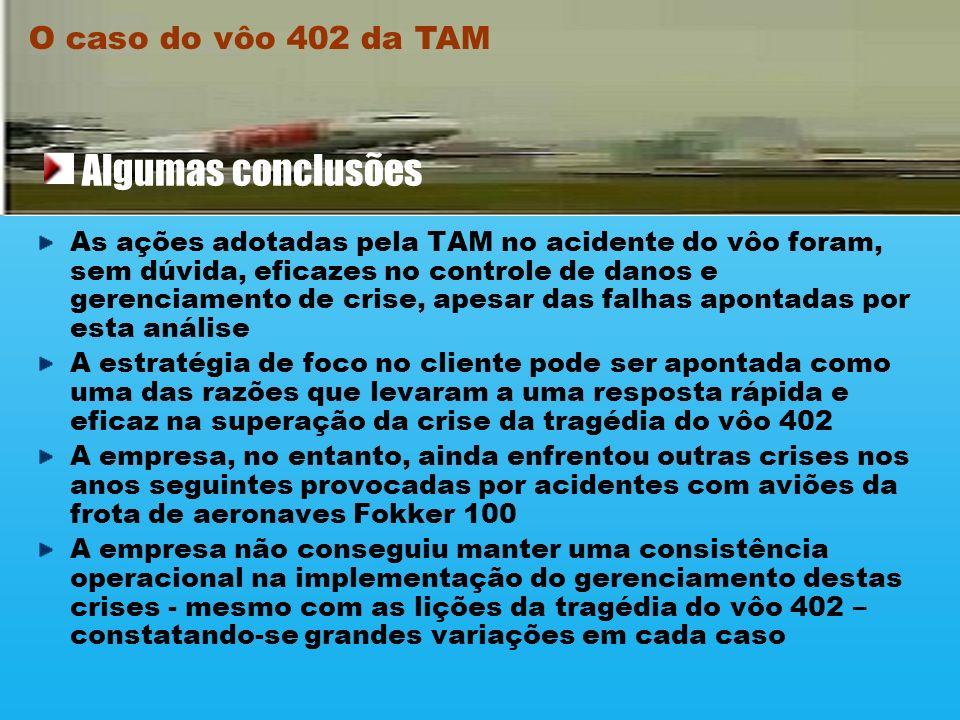 O caso do vôo 402 da TAM Produção de um manual formalizando os procedimentos para o gerenciamento de crises, o que inclui a montagem de um comitê que