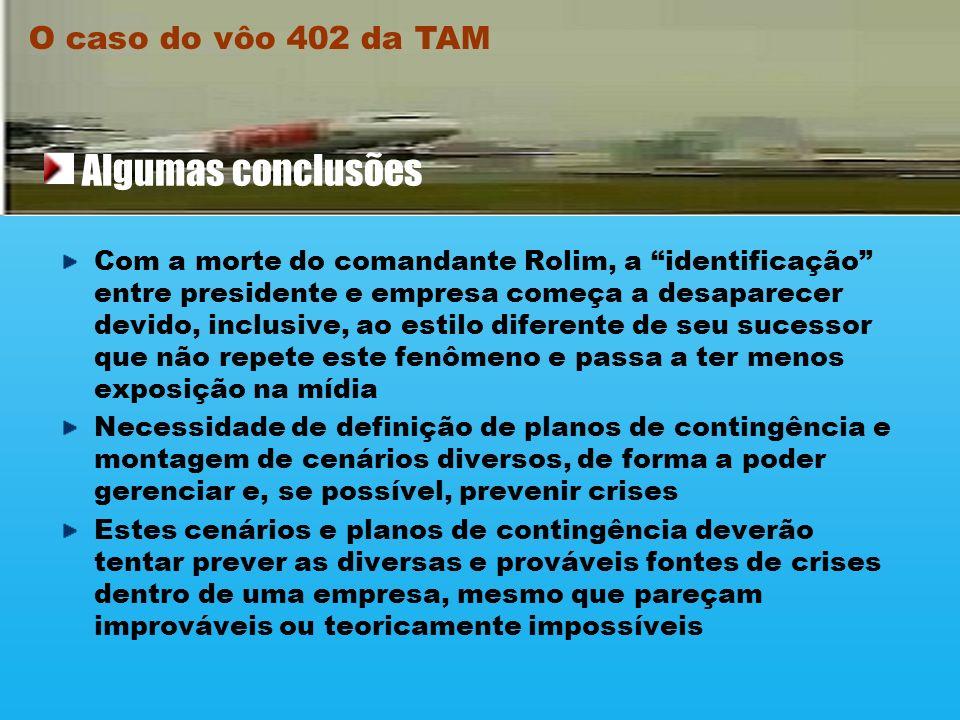 O caso do vôo 402 da TAM As ações adotadas pela TAM no acidente do vôo foram, sem dúvida, eficazes no controle de danos e gerenciamento de crise, apes