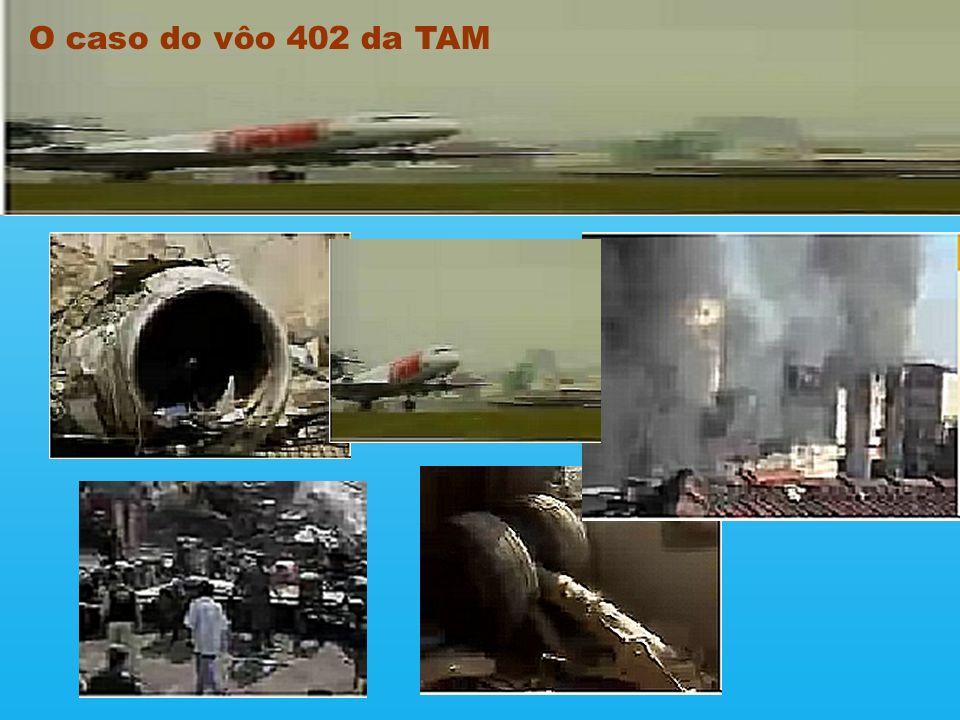 A queda do Fokker 100 que fazia o vôo 402 da ponte aérea Rio - São Paulo matou 99 pessoas e deixou 9 feridos, além de um quadro de destruição generali