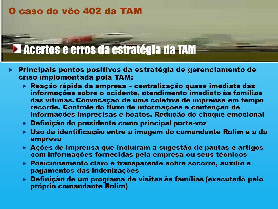 Apesar da descoordenação dos primeiros momentos, a TAM conseguiu se recuperar do choque dos primeiros momentos do acidente, implementando as seguintes