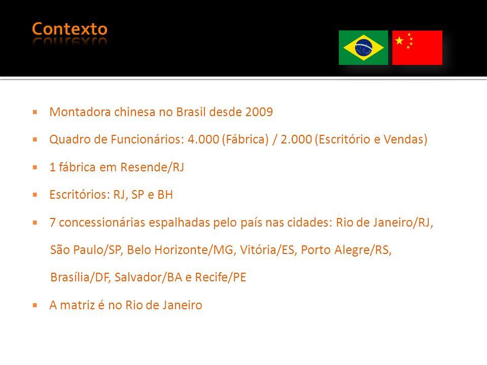 Montadora chinesa no Brasil desde 2009 Quadro de Funcionários: 4.000 (Fábrica) / 2.000 (Escritório e Vendas) 1 fábrica em Resende/RJ Escritórios: RJ, SP e BH 7 concessionárias espalhadas pelo país nas cidades: Rio de Janeiro/RJ, São Paulo/SP, Belo Horizonte/MG, Vitória/ES, Porto Alegre/RS, Brasília/DF, Salvador/BA e Recife/PE A matriz é no Rio de Janeiro
