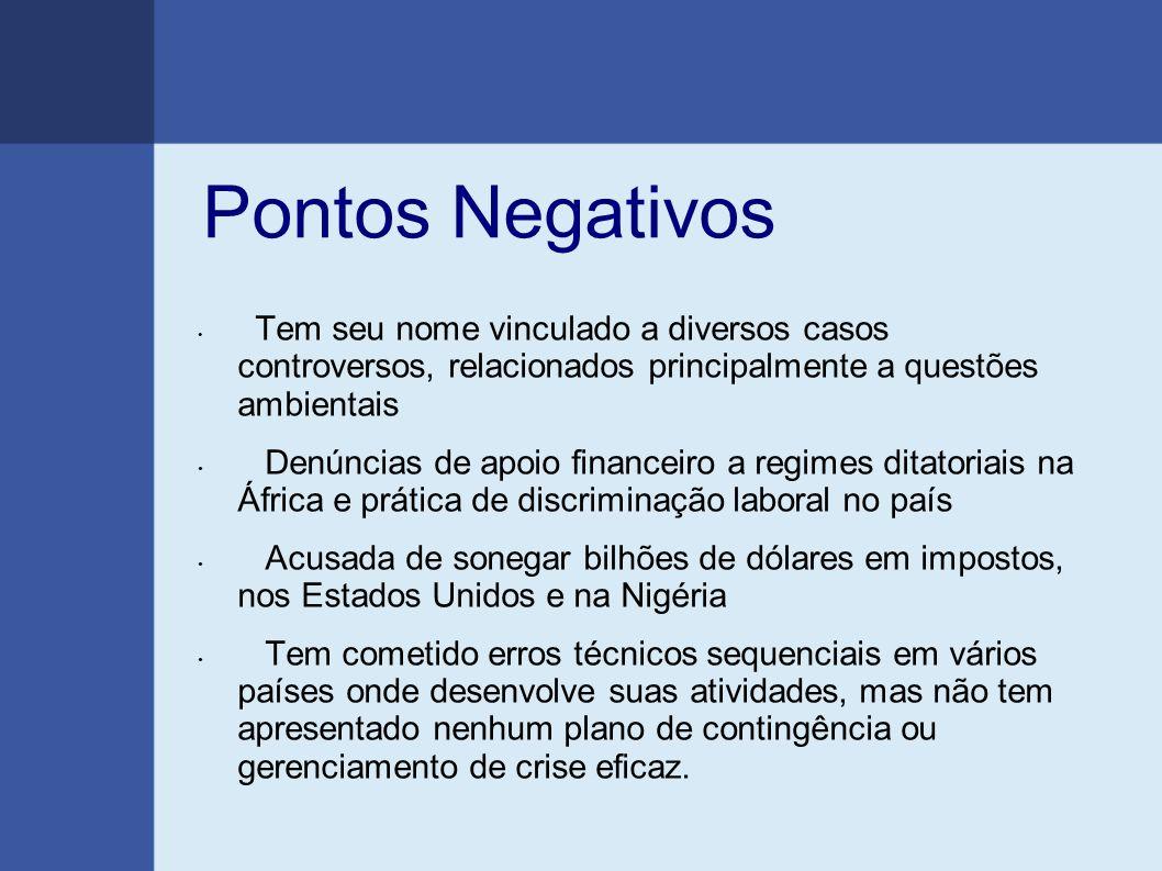 Pontos Negativos Tem seu nome vinculado a diversos casos controversos, relacionados principalmente a questões ambientais Denúncias de apoio financeiro