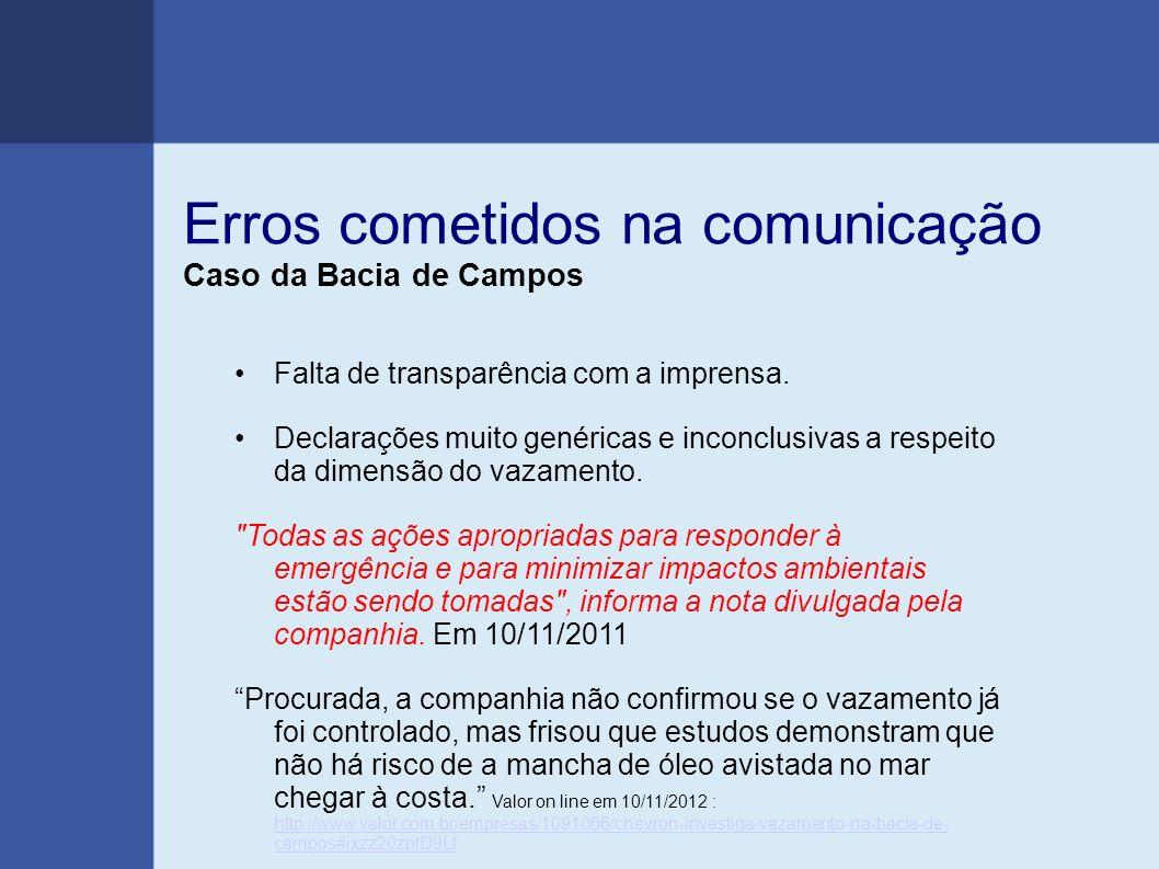 Erros cometidos na comunicação Caso da Bacia de Campos Falta de transparência com a imprensa. Declarações muito genéricas e inconclusivas a respeito d
