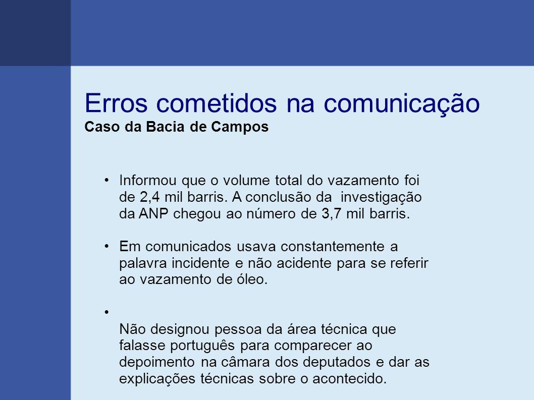 Erros cometidos na comunicação Caso da Bacia de Campos Informou que o volume total do vazamento foi de 2,4 mil barris. A conclusão da investigação da