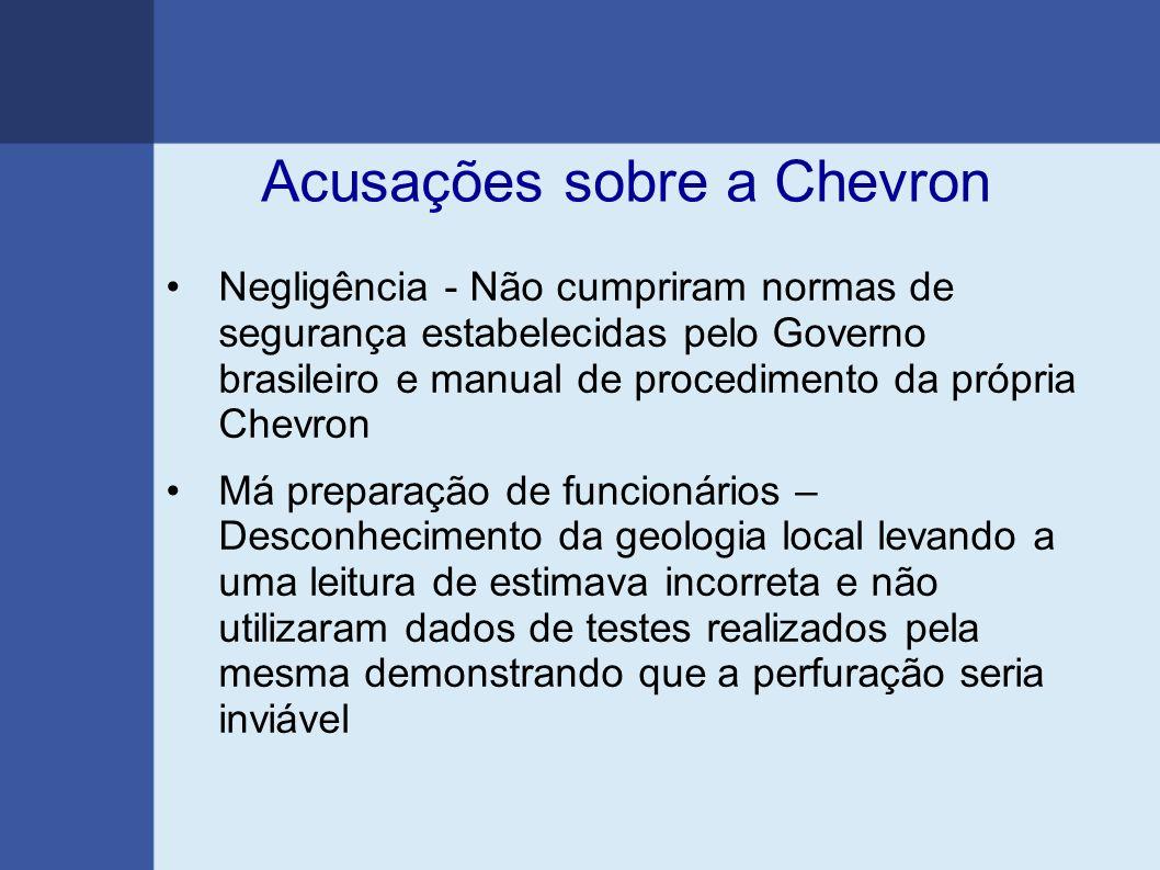 Acusações sobre a Chevron Negligência - Não cumpriram normas de segurança estabelecidas pelo Governo brasileiro e manual de procedimento da própria Ch