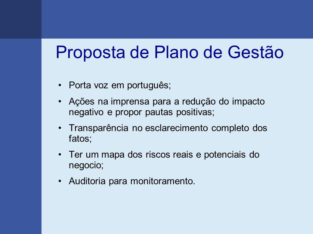 Proposta de Plano de Gestão Porta voz em português; Ações na imprensa para a redução do impacto negativo e propor pautas positivas; Transparência no e