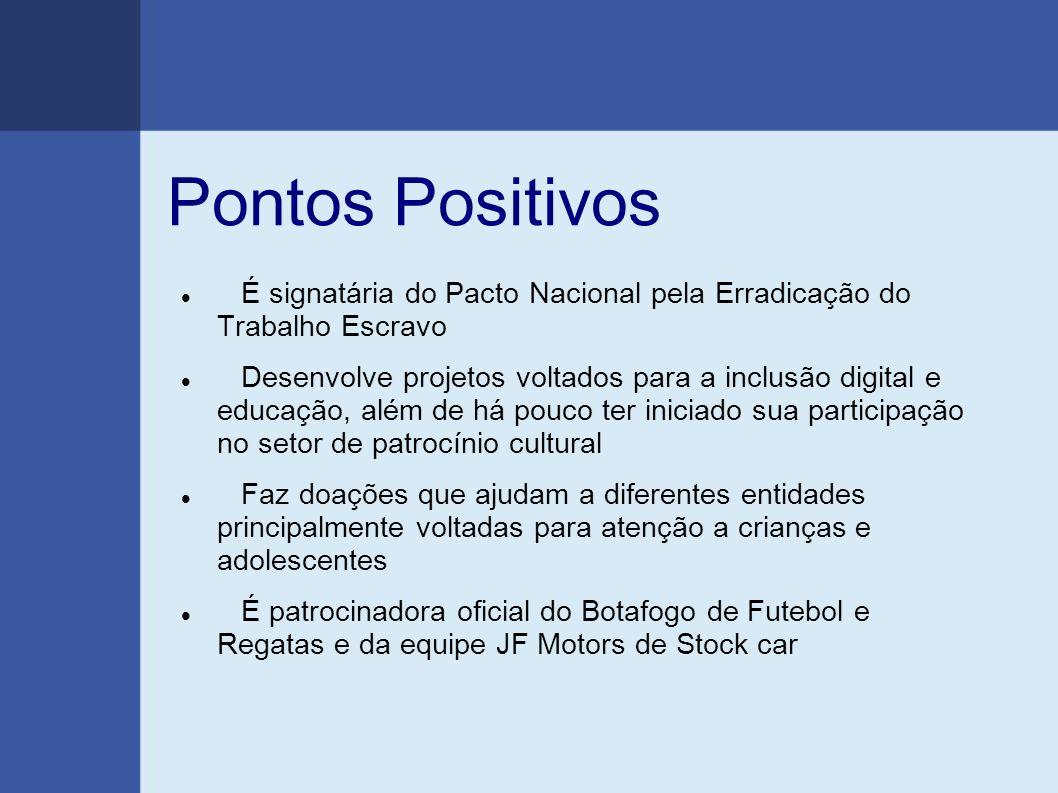 Pontos Positivos É signatária do Pacto Nacional pela Erradicação do Trabalho Escravo Desenvolve projetos voltados para a inclusão digital e educação,