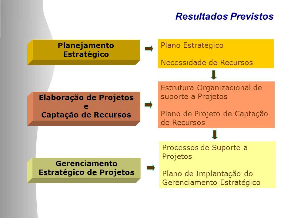 Resultados Previstos Planejamento Estratégico Plano Estratégico Necessidade de Recursos Elaboração de Projetos e Captação de Recursos Estrutura Organi