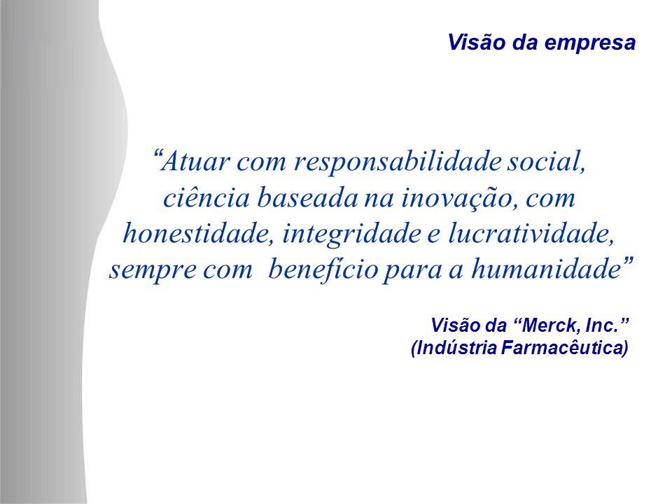 Visão da Merck, Inc. (Indústria Farmacêutica) Atuar com responsabilidade social, ciência baseada na inovação, com honestidade, integridade e lucrativi