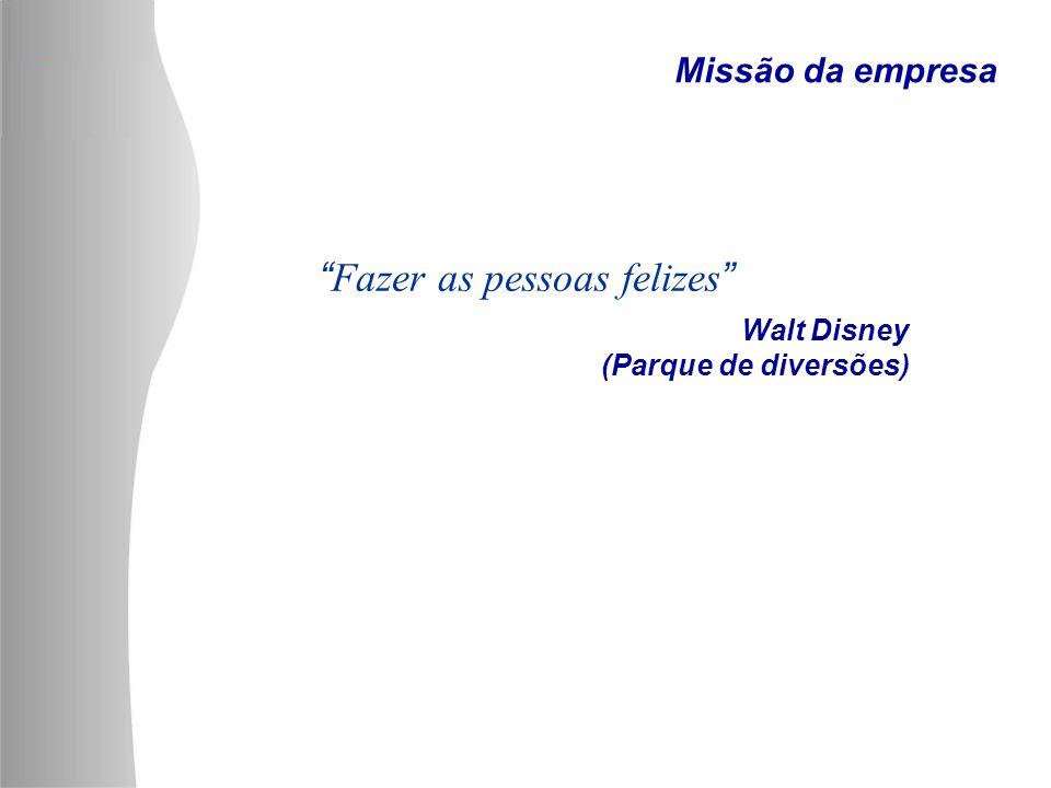 Walt Disney (Parque de diversões) Fazer as pessoas felizes Missão da empresa