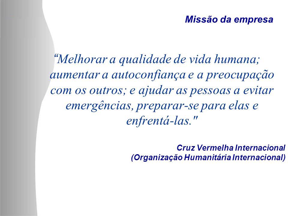 Cruz Vermelha Internacional (Organização Humanitária Internacional) Melhorar a qualidade de vida humana; aumentar a autoconfiança e a preocupação com