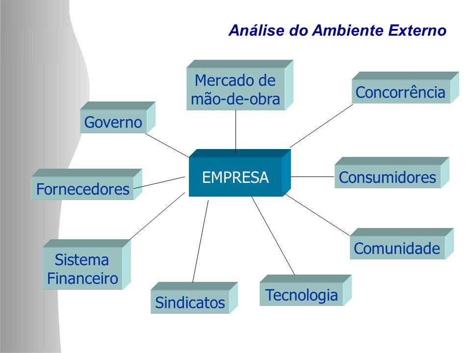 EMPRESA Mercado de mão-de-obra Governo Concorrência Fornecedores Sistema Financeiro Sindicatos Tecnologia Consumidores Comunidade Análise do Ambiente