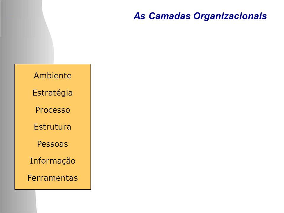 As Camadas Organizacionais Ambiente Estratégia Processo Estrutura Pessoas Informação Ferramentas