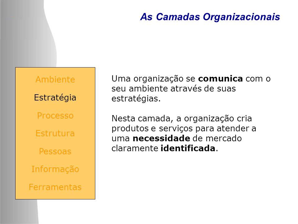 As Camadas Organizacionais Uma organização se comunica com o seu ambiente através de suas estratégias. Nesta camada, a organização cria produtos e ser