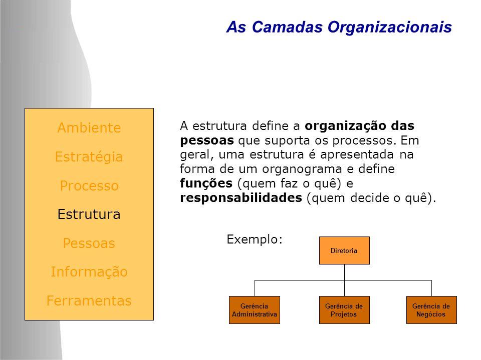 As Camadas Organizacionais Ambiente Estratégia Processo Estrutura Pessoas Informação Ferramentas A estrutura define a organização das pessoas que supo