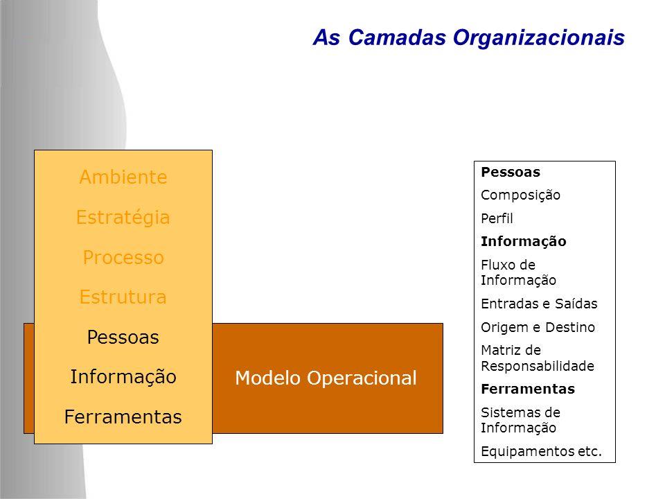 Modelo Operacional As Camadas Organizacionais Pessoas Composição Perfil Informação Fluxo de Informação Entradas e Saídas Origem e Destino Matriz de Re