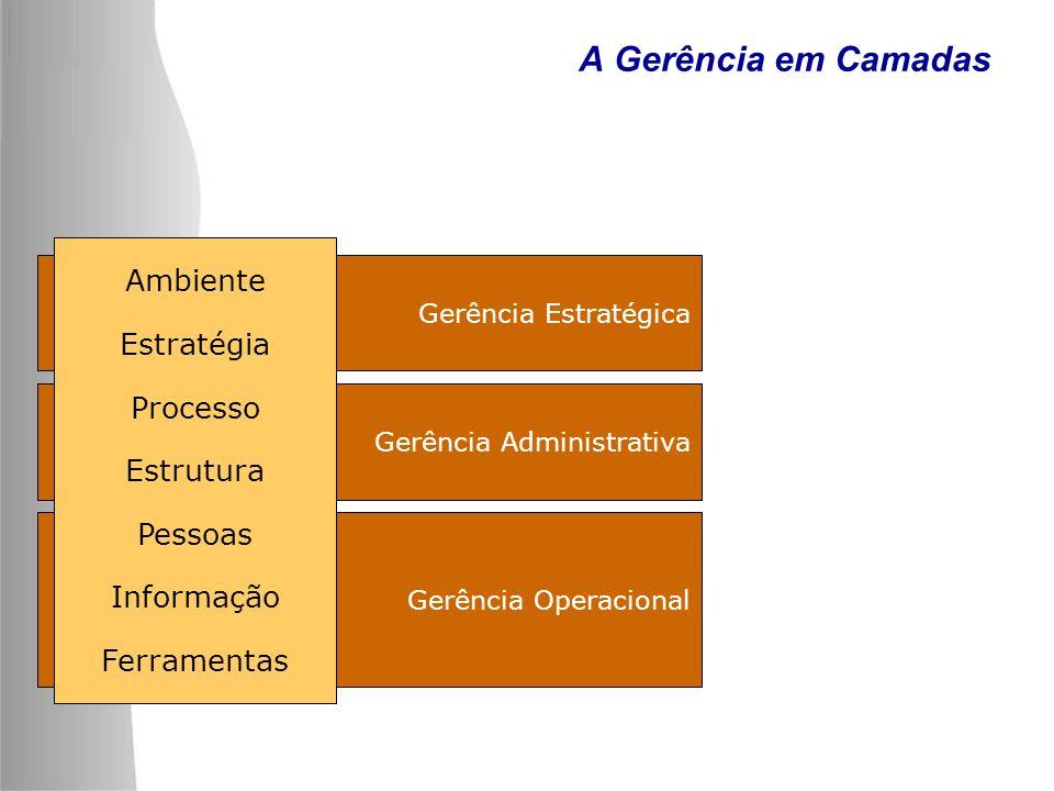 Gerência Operacional Gerência Administrativa Gerência Estratégica A Gerência em Camadas Ambiente Estratégia Processo Estrutura Pessoas Informação Ferr