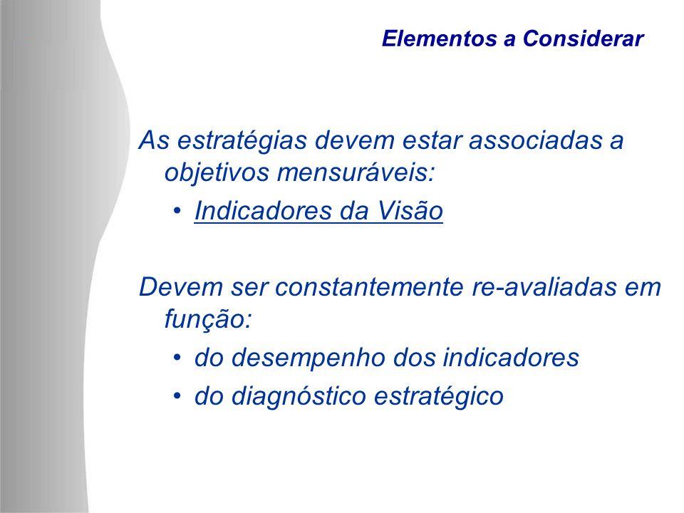 Elementos a Considerar As estratégias devem estar associadas a objetivos mensuráveis: Indicadores da Visão Devem ser constantemente re-avaliadas em fu
