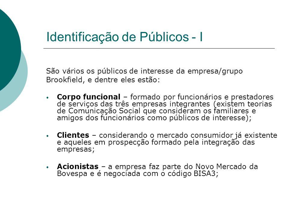 Identificação de Públicos - I São vários os públicos de interesse da empresa/grupo Brookfield, e dentre eles estão: Corpo funcional – formado por func