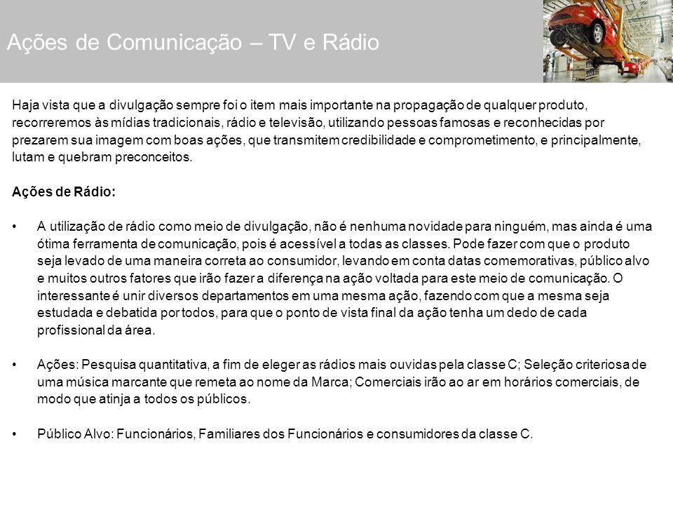 Ações de Comunicação – TV e Rádio Haja vista que a divulgação sempre foi o item mais importante na propagação de qualquer produto, recorreremos às míd