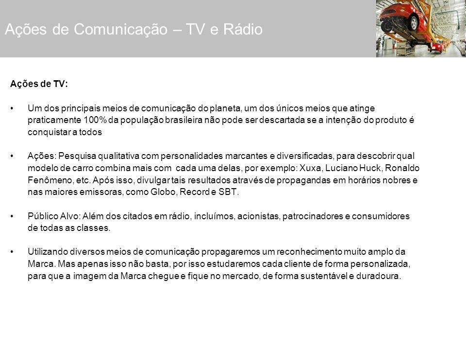 Ações de Comunicação – TV e Rádio Ações de TV: Um dos principais meios de comunicação do planeta, um dos únicos meios que atinge praticamente 100% da