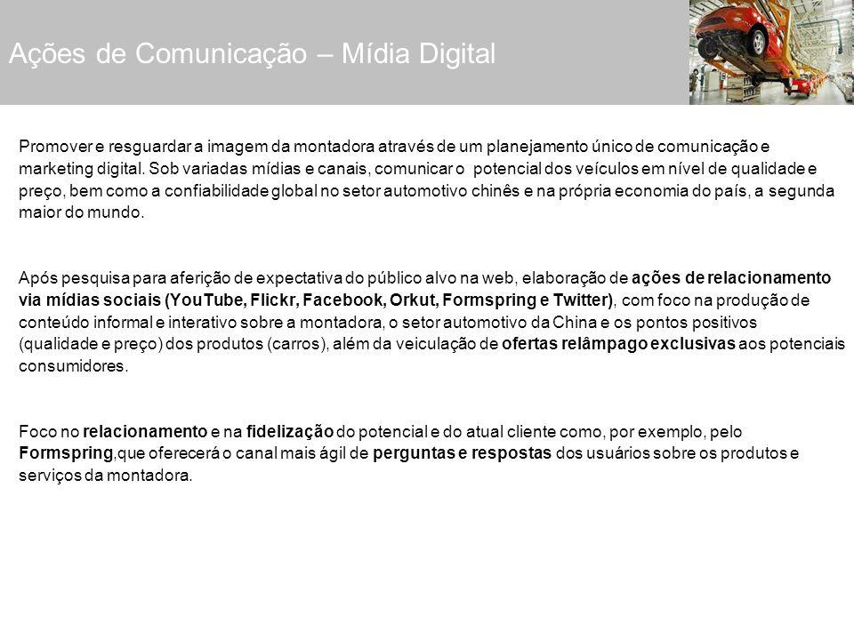 Ações de Mídia Digital: Criação e veiculação de conteúdo audiovisual: campanhas virais em vídeo, via canal da montadora no YouTube, Facebook e Orkut.