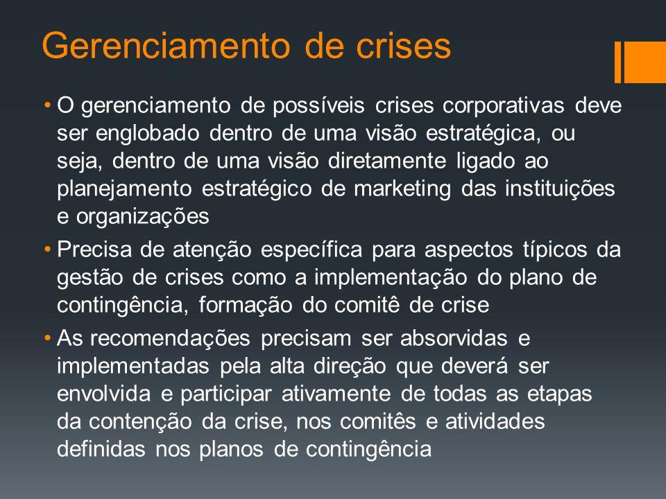 Gerenciamento de crises O gerenciamento de possíveis crises corporativas deve ser englobado dentro de uma visão estratégica, ou seja, dentro de uma vi
