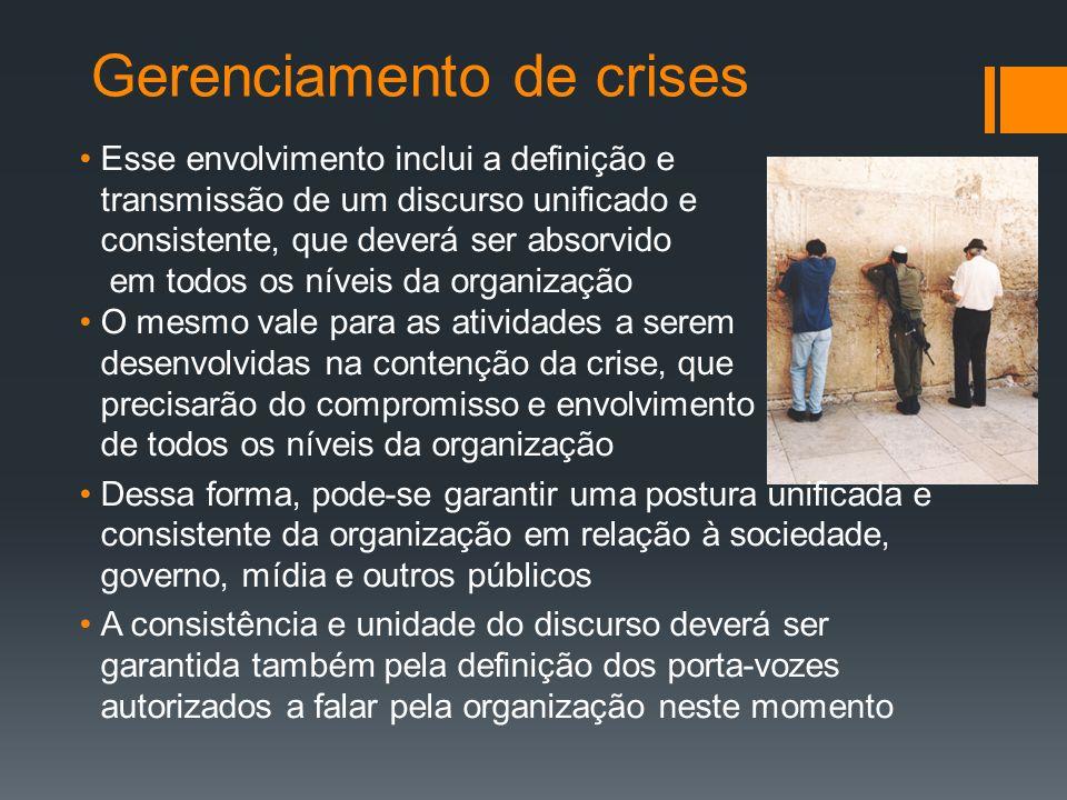 Gerenciamento de crises Esse envolvimento inclui a definição e transmissão de um discurso unificado e consistente, que deverá ser absorvido em todos o