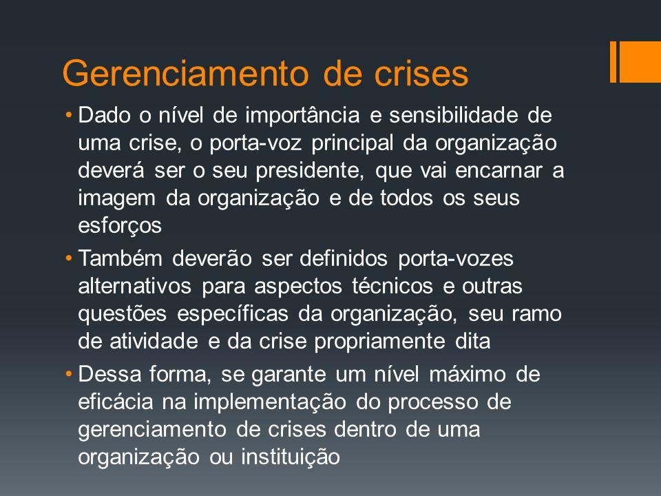 Gerenciamento de crises Dado o nível de importância e sensibilidade de uma crise, o porta-voz principal da organização deverá ser o seu presidente, qu
