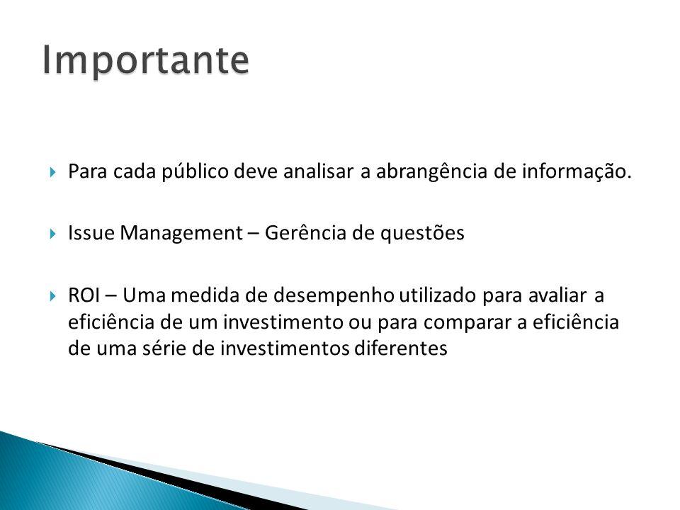 Para cada público deve analisar a abrangência de informação. Issue Management – Gerência de questões ROI – Uma medida de desempenho utilizado para ava