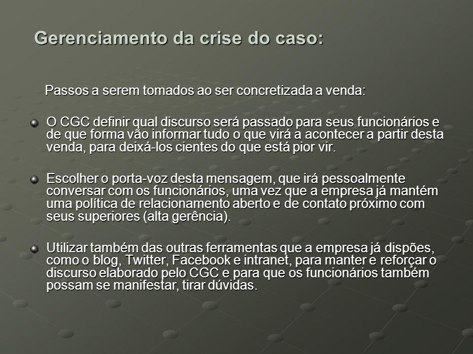 Gerenciamento da crise do caso: Passos a serem tomados ao ser concretizada a venda: Passos a serem tomados ao ser concretizada a venda: O CGC definir