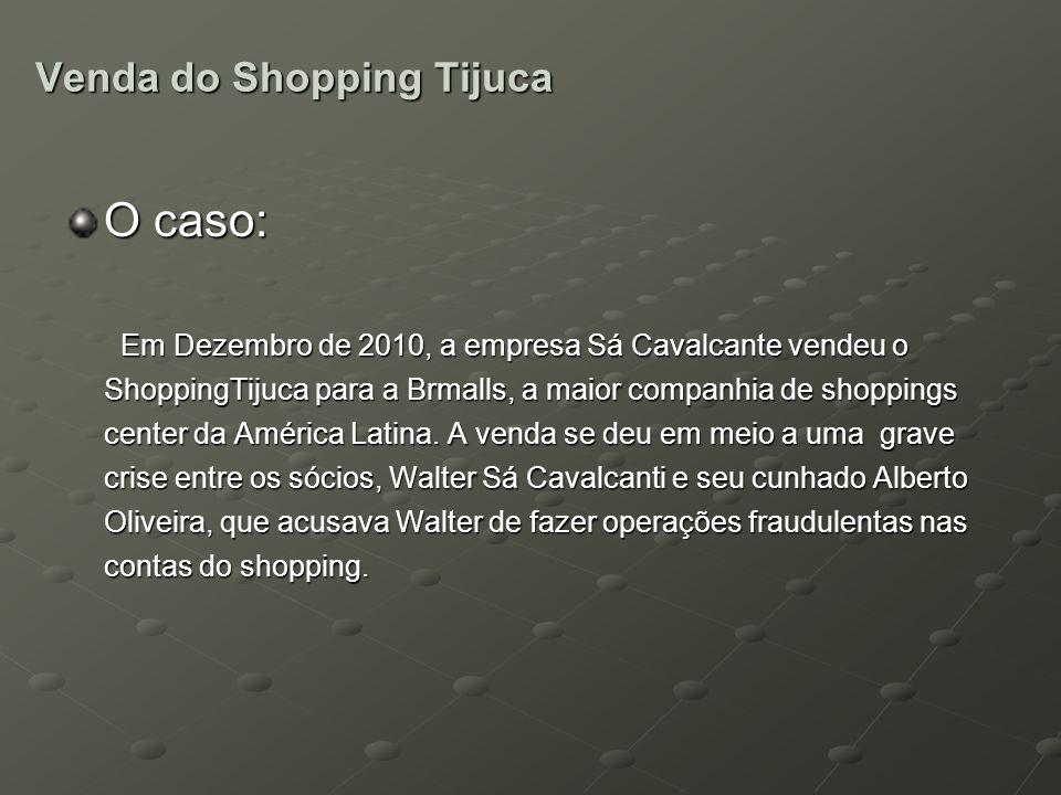 Venda do Shopping Tijuca O caso: Em Dezembro de 2010, a empresa Sá Cavalcante vendeu o ShoppingTijuca para a Brmalls, a maior companhia de shoppings c