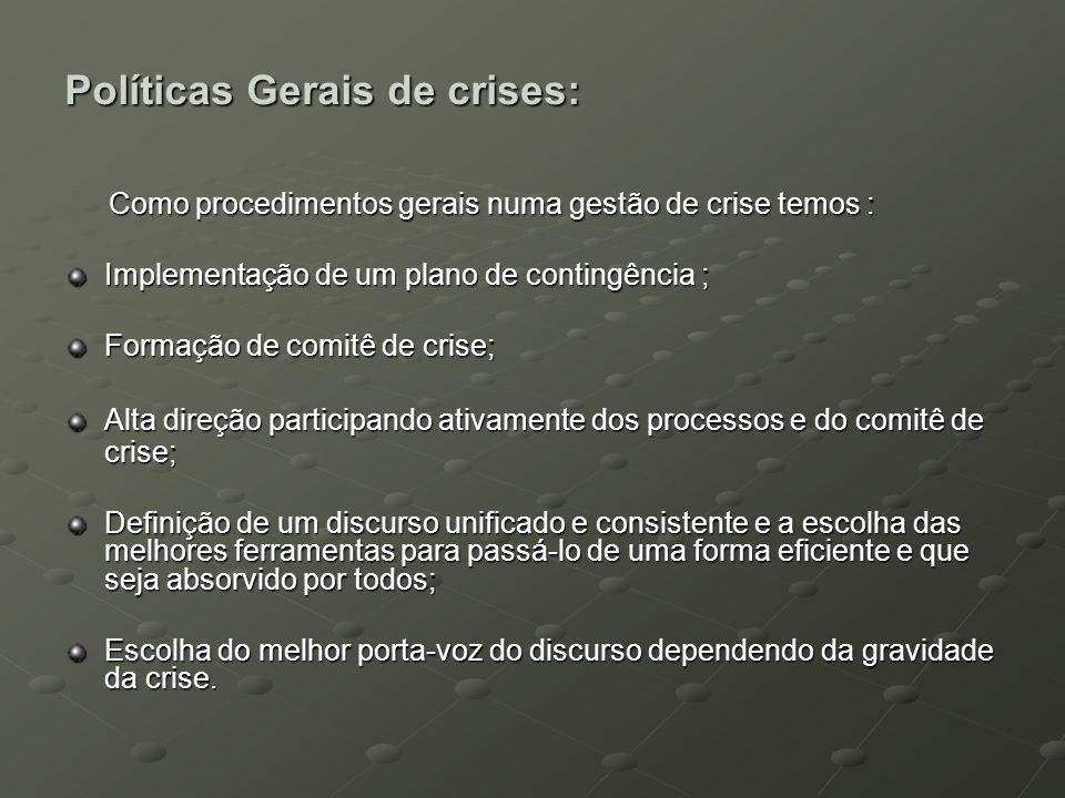 Políticas Gerais de crises: Como procedimentos gerais numa gestão de crise temos : Como procedimentos gerais numa gestão de crise temos : Implementaçã