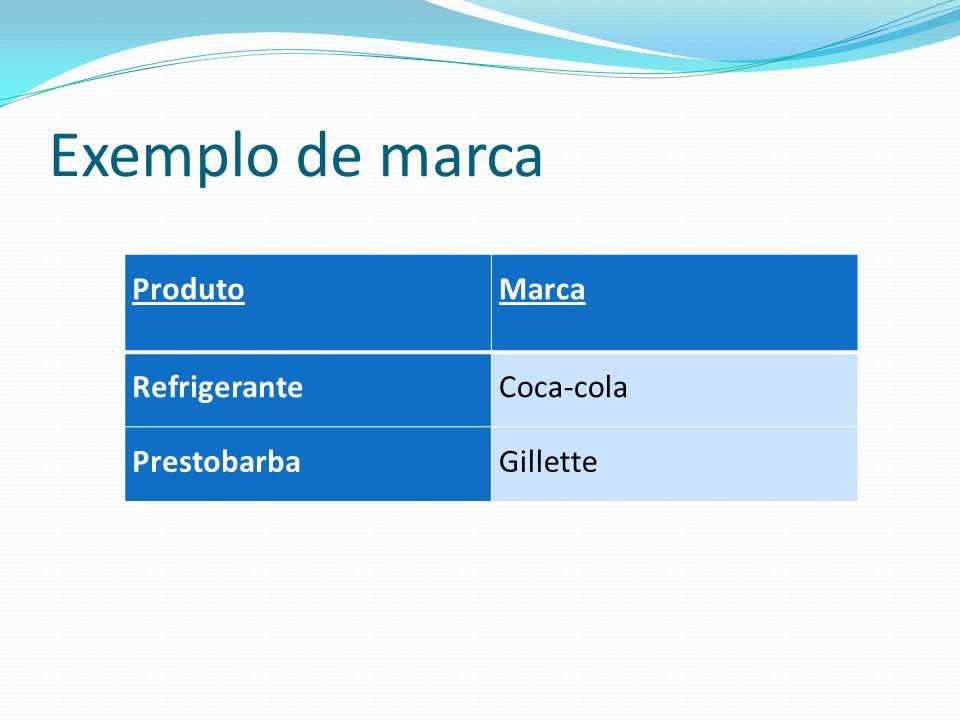 Exemplo de marca ProdutoMarca RefrigeranteCoca-cola PrestobarbaGillette