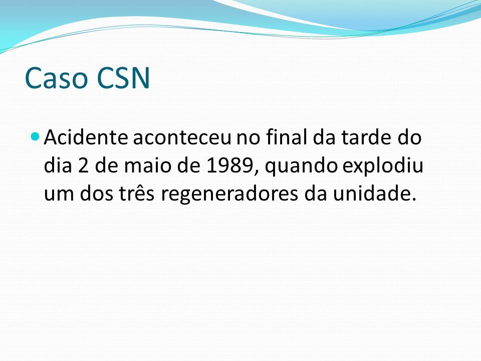 Caso CSN Acidente aconteceu no final da tarde do dia 2 de maio de 1989, quando explodiu um dos três regeneradores da unidade.