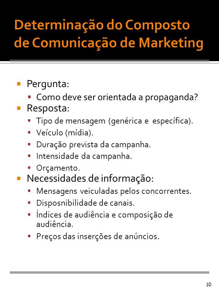 Pergunta: Como deve ser orientada a propaganda? Resposta: Tipo de mensagem (genérica e específica). Veículo (mídia). Duração prevista da campanha. Int