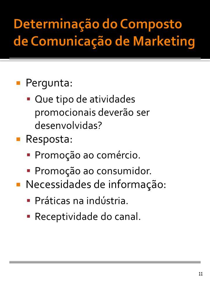 Pergunta: Que tipo de atividades promocionais deverão ser desenvolvidas? Resposta: Promoção ao comércio. Promoção ao consumidor. Necessidades de infor