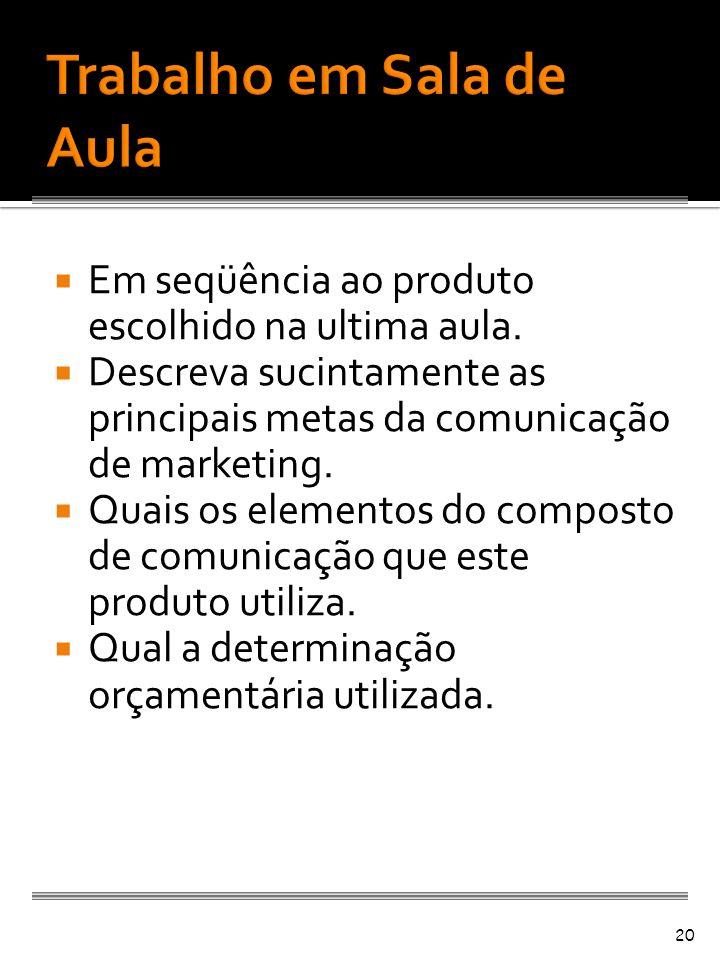 Em seqüência ao produto escolhido na ultima aula. Descreva sucintamente as principais metas da comunicação de marketing. Quais os elementos do compost