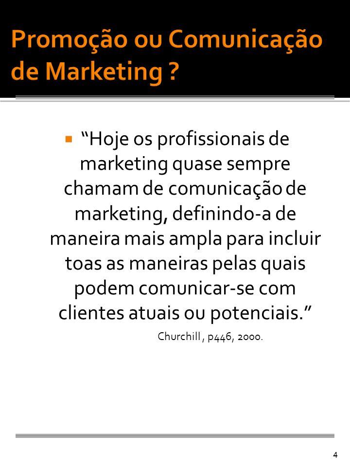 Hoje os profissionais de marketing quase sempre chamam de comunicação de marketing, definindo-a de maneira mais ampla para incluir toas as maneiras pe