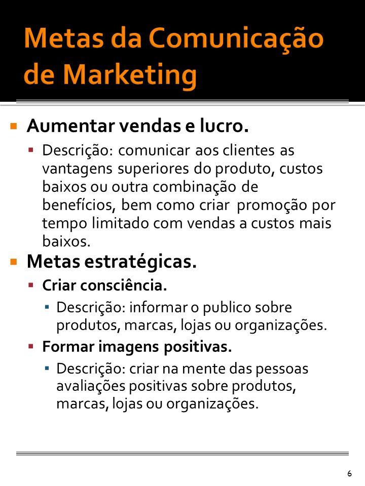 Aumentar vendas e lucro. Descrição: comunicar aos clientes as vantagens superiores do produto, custos baixos ou outra combinação de benefícios, bem co
